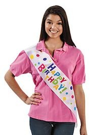 63in x 5 1/2in Satin Everyday Birthday Party Sash