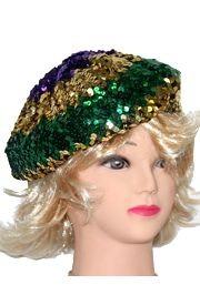 Mardi Gras Sequin Beret/ Tam Hat
