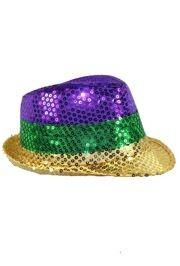 d46082d188837 11in Long x 9in Wide Mardi Gras Color Sequin Fedora Hat