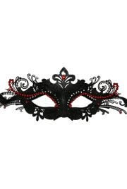 Black Venetian Papier Mache Masquerade Mask with Black Metal Laser Cut and Red Crystals on Eyes