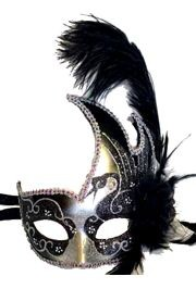 Black and Silver Venetian Masquerade Mask with Black Ostrich Plume, and a Flower