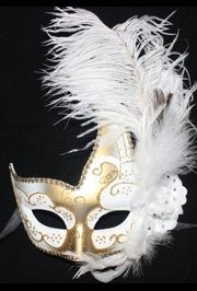 White and Gold Venetian Masquerade Mask with White Ostrich Plumes and a Flower