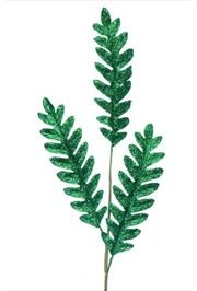 37in Glittered Flowering Fern Decoration Stem Green