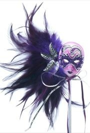 12in Carnival Feathered Purple Mask Decoration/ Doll on Stick
