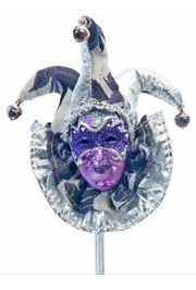 11 1/2in Carnival Purple Mask Decoration/ Jester Face Doll On Stick