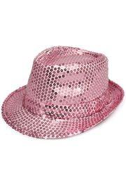 Pink Sequin Fedora Hat