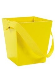 5in x 4 1/2in x 4 1/2in Yellow Cardboard Bucket W/ 6in Ribbon Handle