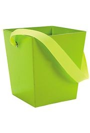 5in x 4 1/2in x 4 1/2in Lime Cardboard Bucket W/ 6in Ribbon Handle