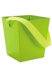 5in x 4 1/2in x 4 1/2in Lime Cardboard Bucket W/ 6in Ribbon Handle