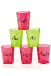 2 1/2in Plastic Naughty/ Nice Shot Glasses