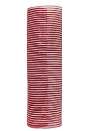 21in x 30ft Deluxe Wide Foil Red/ White Stripe Mesh Ribbon