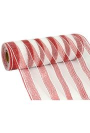 10in Wide x 30ft Long Metallic Red/ White Stripe Mesh Ribbon