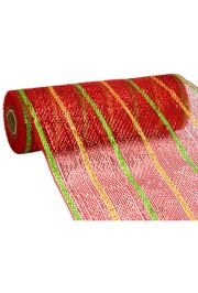 10in Wide x 30ft Long Metallic Deluxe Red/ Gold/ Lime Stripe Mesh Ribbon