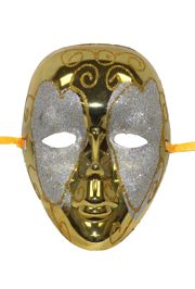 Metallic Gold Plastic Drama Masquerade Mask With Silver and Gold Glittered Scrollwork