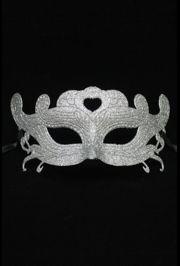 Glittered Plastic Silver Masquerade Face Mask