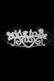 5in Metal Bride To Be Rhinestone Tiara w/ Combs