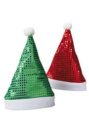 14in Tall x 10in Wide Polyester Sequin Santa Hats Red/ Green Assortment