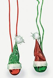 30in Fabric Santa Hat w/ Metal Christmas Jingle Bell Necklaces