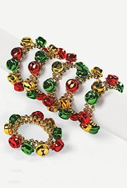 Plastic Christmas Jingle Bell Beaded Bracelets
