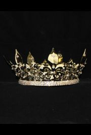 4 1/2in Tall x 7.75in Wide Gold Rhinestone Crown
