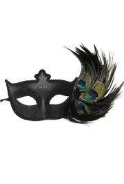 Black Masquerade Mask with Glittery Patterns and Peacock Feathers