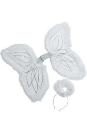 19in Nylon White Marabou Angel Wings And Halo Headband