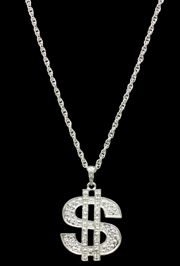 2 1/2in Long x 4in Tall Novelty Dollar Sign Medallion w/ 27in Chain Necklace