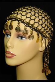 Black Head Piece w/ Metallic Gold Coins/ Beaded