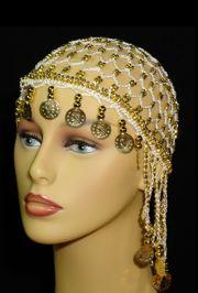 White Head Piece w/ Metallic Gold Coins/ Beaded
