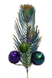 22in Plastic Peacock Decorative Stem w/ Ball