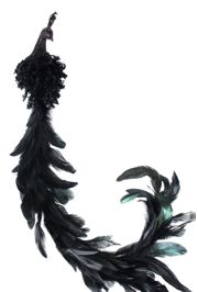 32in Long Black Glittered Peacock/ Feather tail w/ Clip