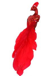 12in Long Red Glittered Peacock/ Feather Tail w/ Clip