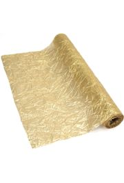 16in Wide x 30ft Long Gold Crushed Metallic Lame Fabric
