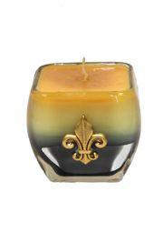 Scent Candle In A Glass Vase w/ a Gold Fleur De Lis Design/ Assorted Scents