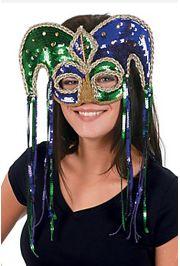 Plastic Mardi Gras Sequin Jester Masquerade Half Mask