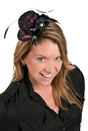 3in Wide x 6in Tall Mini top Hat/ Plastic Voodoo Brides Hat With Metal Hair Clip