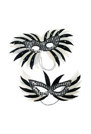 Eye Masks: Plastic Silver Sequin Feather Masquerade Mask
