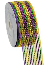 2.5in x 75ft Sinamay Metallic Purple/ Green/ Gold Mesh Ribbon/ Netting
