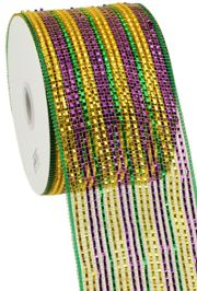 4in x 75ft Sinamay Metallic Purple/ Green/ Gold Band Mesh Ribbon/ Netting