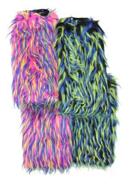 17in Long Assorted Color Furry Leg Warmers