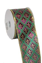 2.5in x 30ft Purple/ Green/ Gold Chex fleur de lis Sheer Ribbon