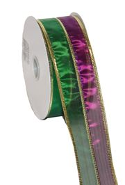 1.5in x 30ft Metallic Stripe Mardi Gras Ribbon