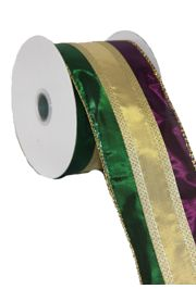 2 1/2in x 30ft Metallic Stripe Purple/ Green/ Gold Ribbon