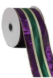 2 1/2in x 30ft Metallic Stripe Mardi Gras Ribbon