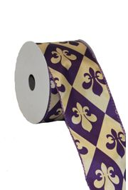 2 1/2in Purple/ Gold Fleur De Lis Diamond Check Ribbon