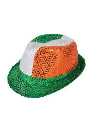 11in Long x 9in Wide Tri Color Irish Sequin Fedora Hat