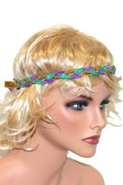 Mardi Gras Braided Ribbon Stretch Headband