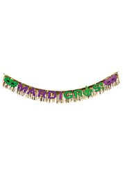 7ft Long x 8 1/2in Wide Foil Mardi Gras Fringe Garland
