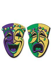 Jumbo Glittered Comedy/ Tragedy Mardi Gras Paper Faces
