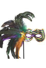 Purple/ Green/ Gold Sequin Feather Mask With A Stick